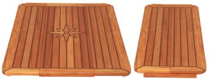 Teak Table, Star Inlay, Sliding Wings