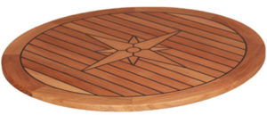 Teak Table, Star Inlay, Round