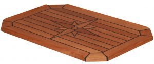 Teak Table, Star Inlay, Classic Cut