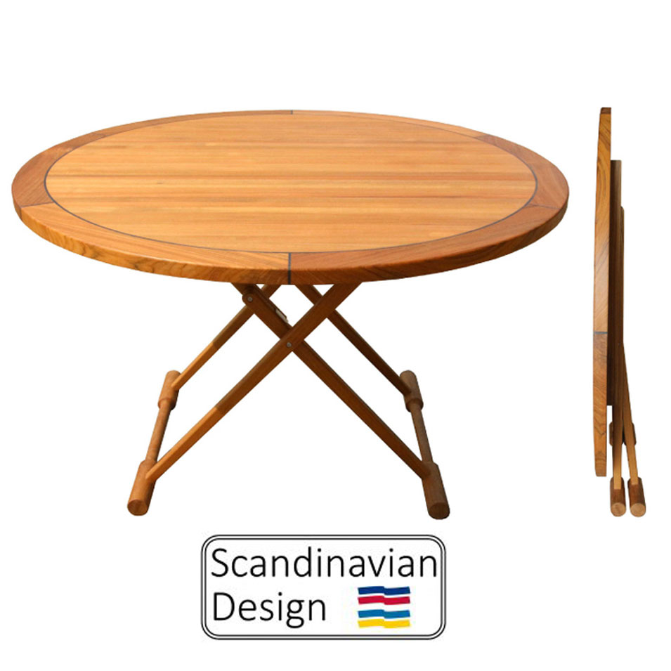Hand Crafted Teak Folding Table, Round ...