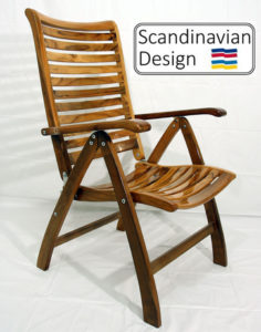 high gloss teak chair