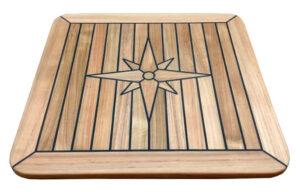 Teak Table, Square, Star Inlay